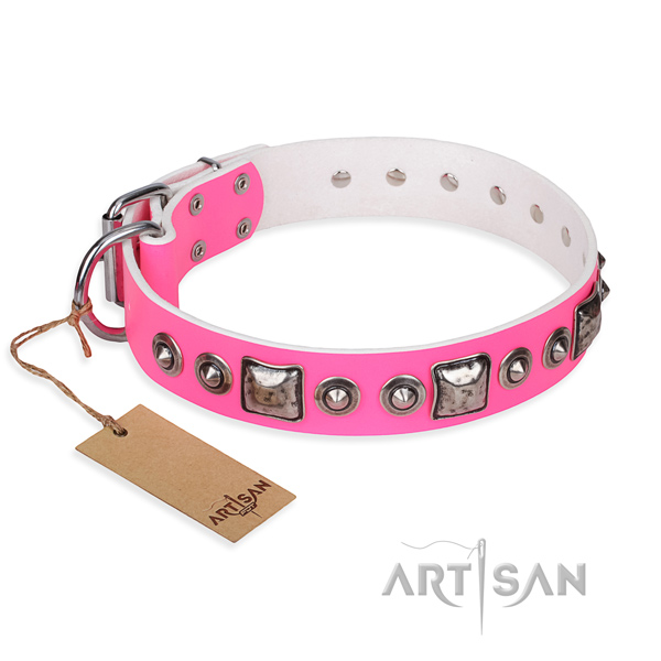 Full grain leather dog collar made of quality material with corrosion resistant traditional buckle