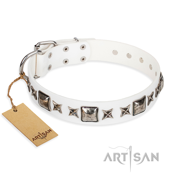 Natural genuine leather dog collar made of gentle to touch material with rust-proof hardware