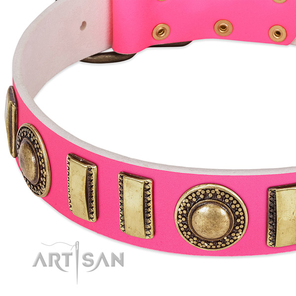Top notch full grain genuine leather dog collar for your beautiful dog
