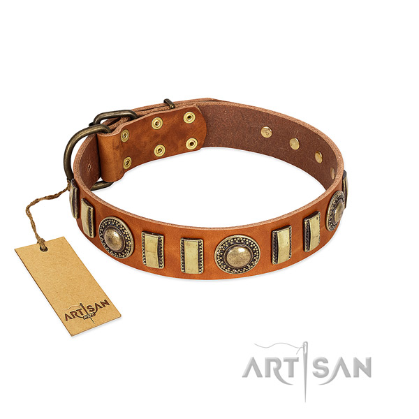Handcrafted full grain genuine leather dog collar with durable buckle