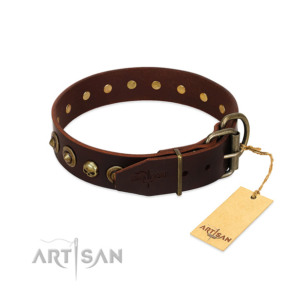 Genuine leather collar with exquisite adornments for your pet