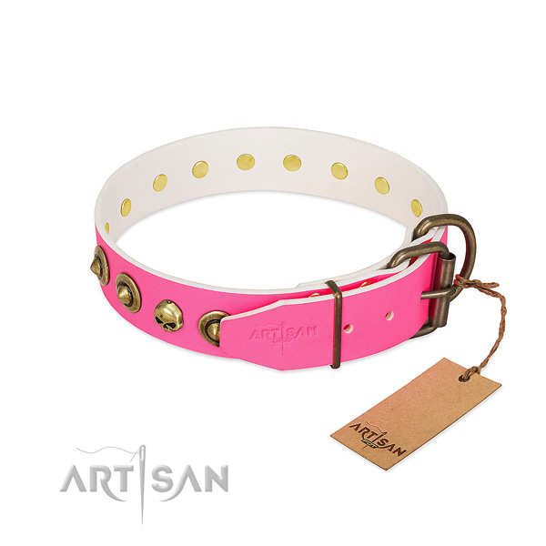 Full grain natural leather collar with significant studs for your doggie