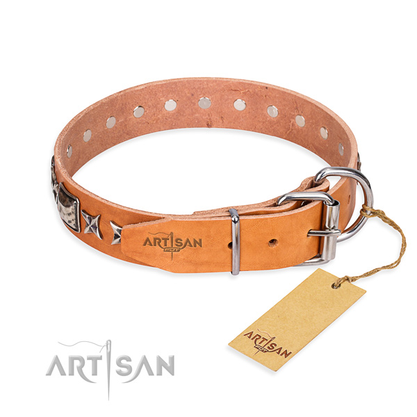 Quality embellished dog collar of genuine leather