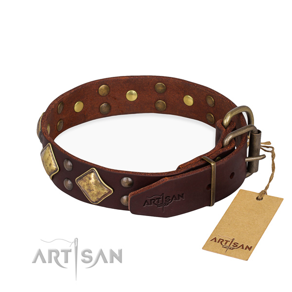 Leather dog collar with unique reliable studs