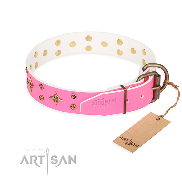 Best quality embellished dog collar of natural leather