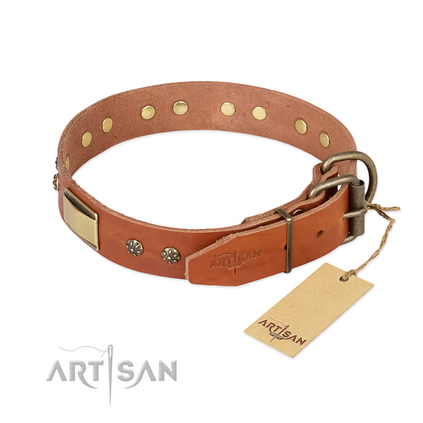 Full grain genuine leather dog collar with corrosion proof D-ring and adornments