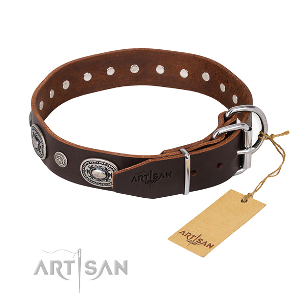 Best quality genuine leather dog collar created for stylish walking