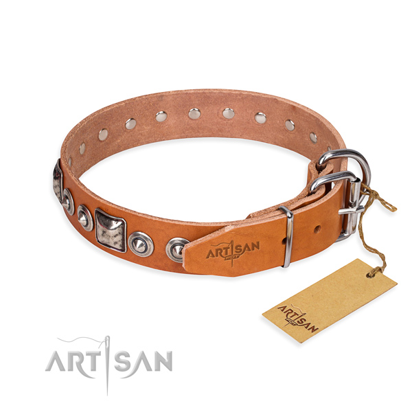 Full grain leather dog collar made of quality material with corrosion proof decorations