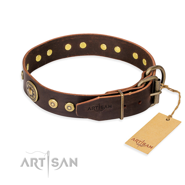 Genuine leather dog collar made of soft material with strong decorations