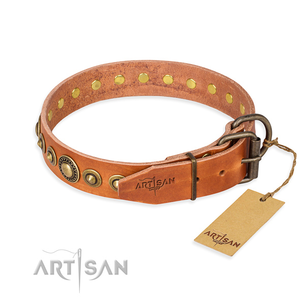 High quality natural genuine leather dog collar created for daily walking