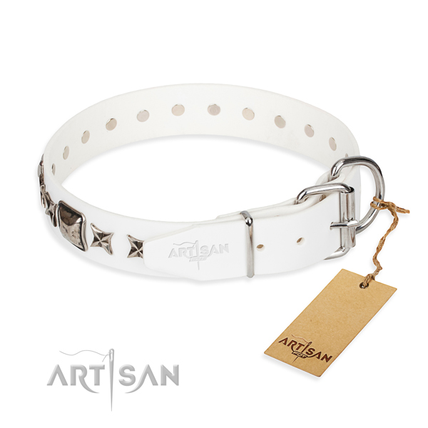 Durable adorned dog collar of natural leather