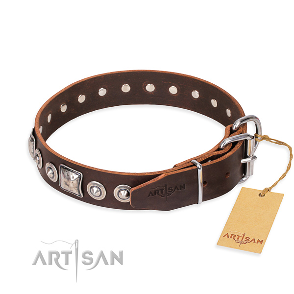 Full grain natural leather dog collar made of best quality material with rust-proof adornments