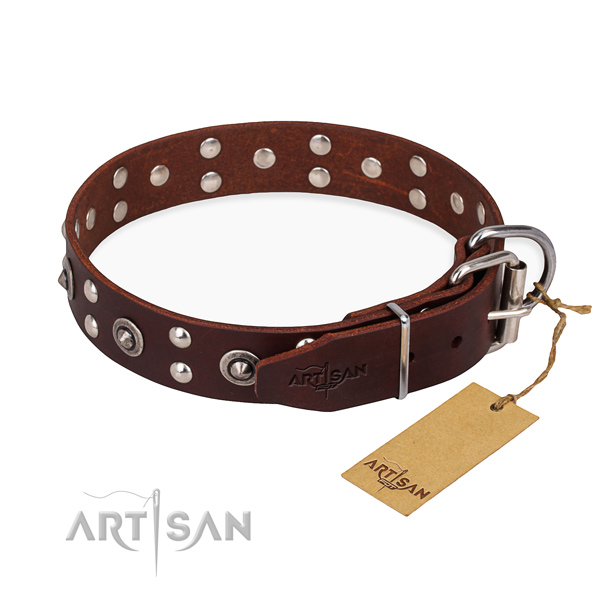 Corrosion proof hardware on full grain genuine leather collar for your impressive doggie