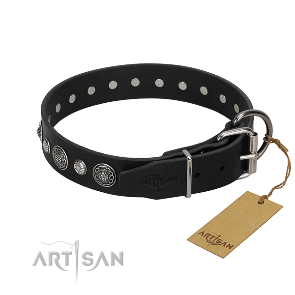 Fine quality full grain genuine leather dog collar with inimitable adornments