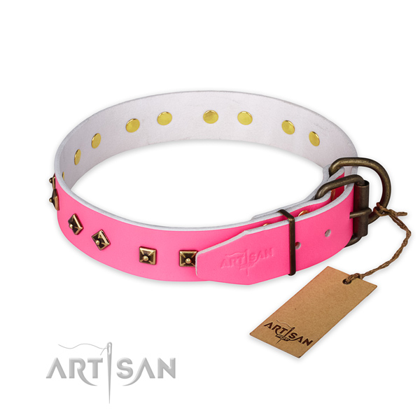 Strong D-ring on full grain genuine leather collar for daily walking your canine