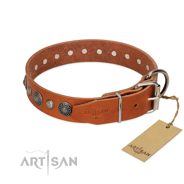 Reliable genuine leather dog collar with corrosion resistant buckle