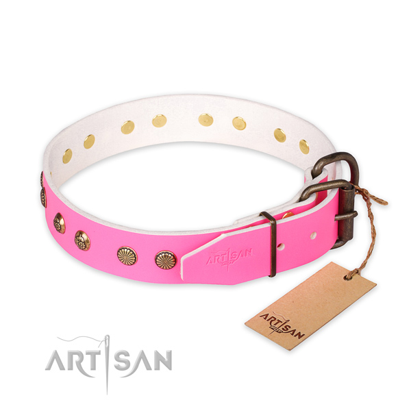 Rust-proof traditional buckle on full grain genuine leather collar for your impressive dog