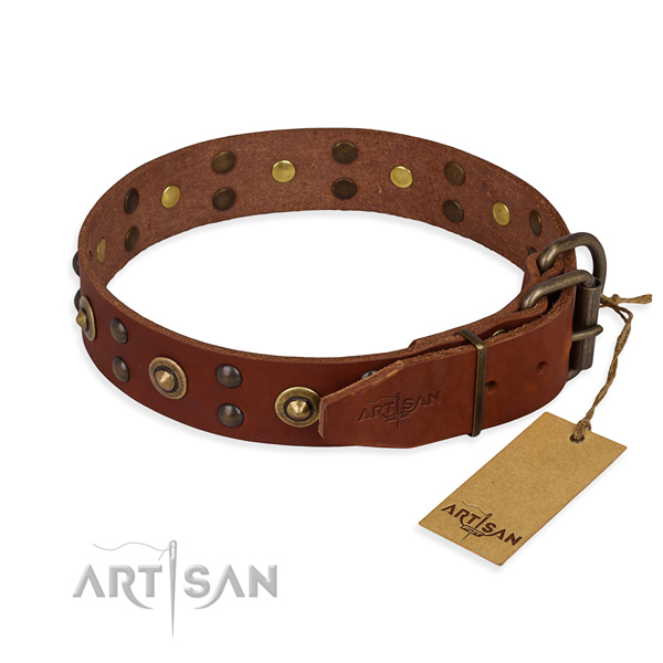 Rust resistant D-ring on full grain natural leather collar for your handsome canine