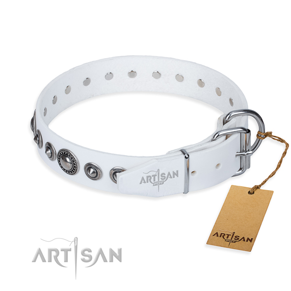 Full grain genuine leather dog collar made of high quality material with rust resistant decorations