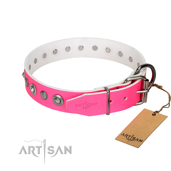 Top quality full grain leather dog collar with designer decorations