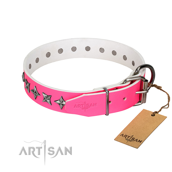 Durable full grain leather dog collar with top notch adornments