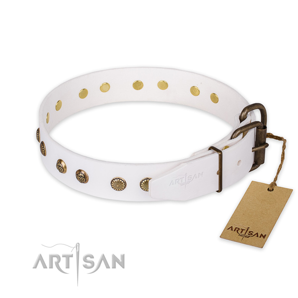 Reliable fittings on genuine leather collar for your lovely canine