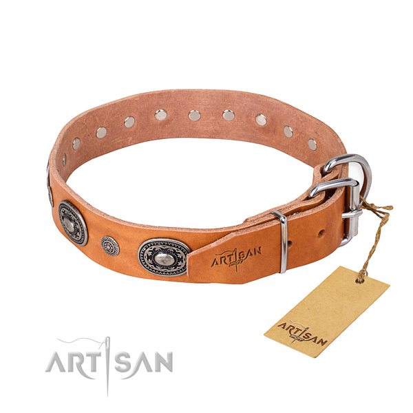 Soft genuine leather dog collar crafted for basic training