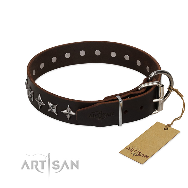 Basic training decorated dog collar of reliable leather