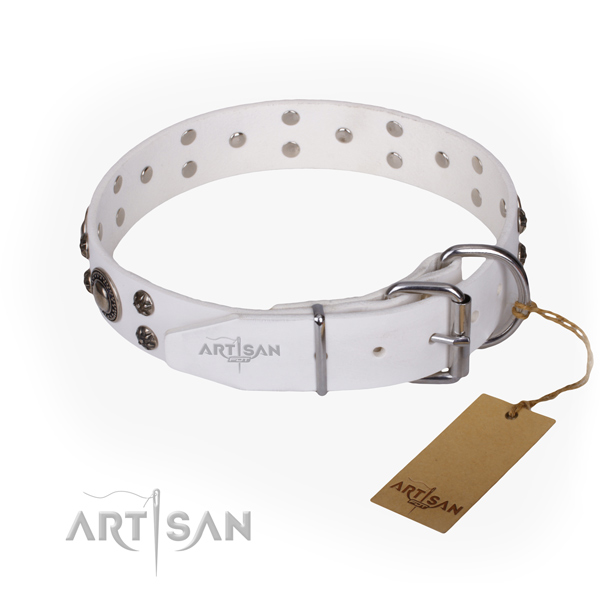 Comfortable wearing embellished dog collar of durable full grain genuine leather