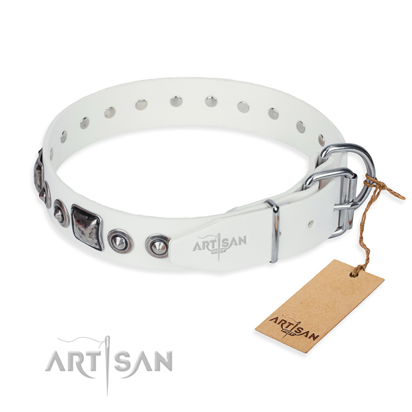 Soft to touch full grain genuine leather dog collar handmade for everyday walking