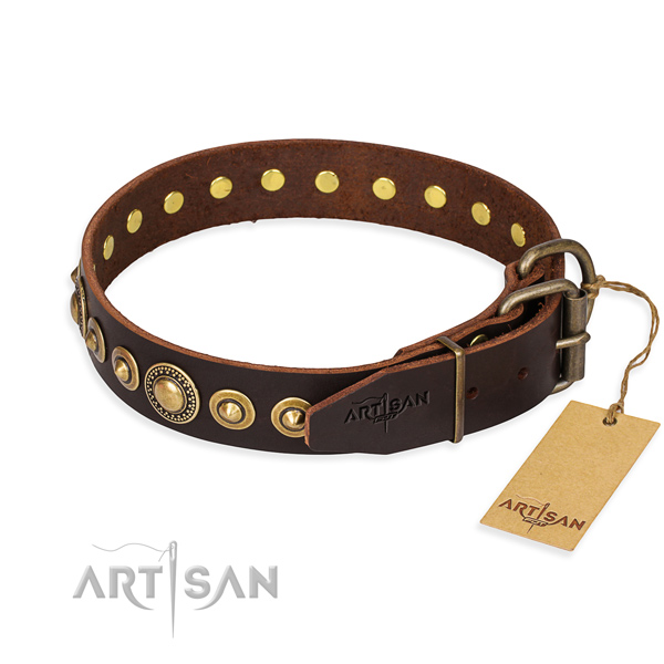 Strong genuine leather dog collar created for daily use