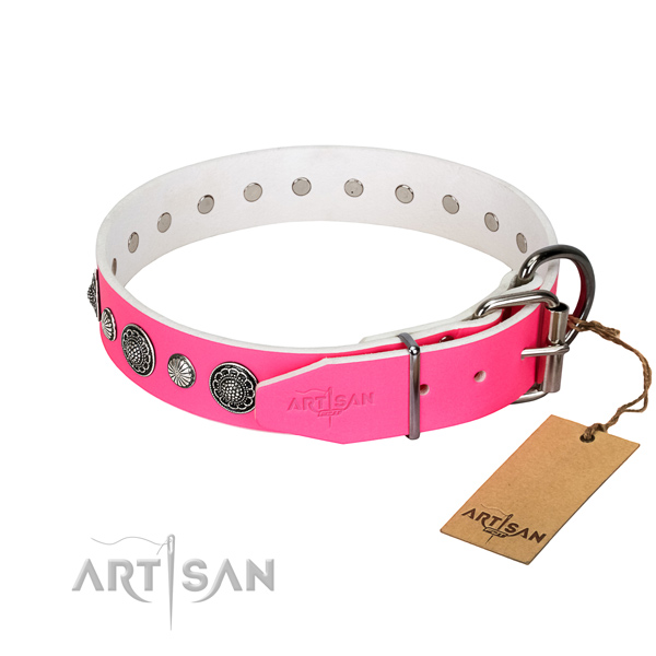 Strong natural leather dog collar with corrosion resistant buckle