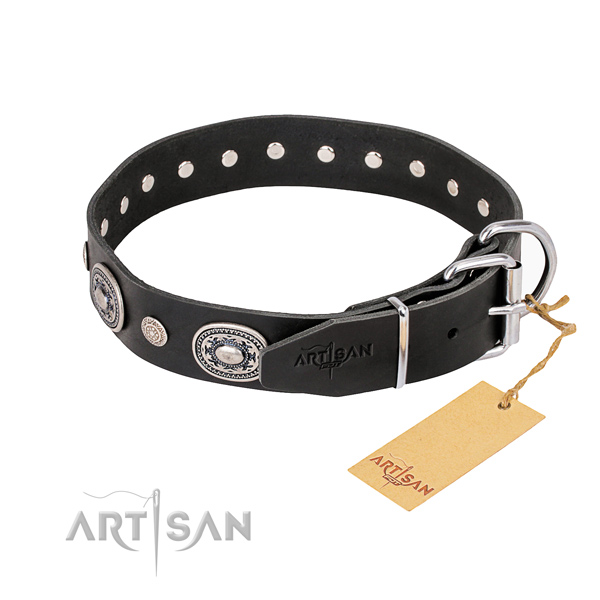 High quality genuine leather dog collar created for fancy walking