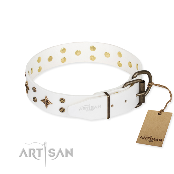 Comfy wearing decorated dog collar of finest quality full grain genuine leather