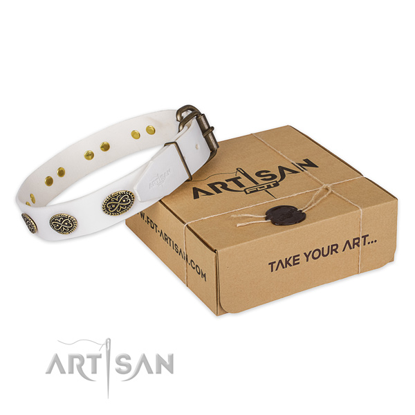 Rust-proof buckle on full grain natural leather collar for your attractive doggie