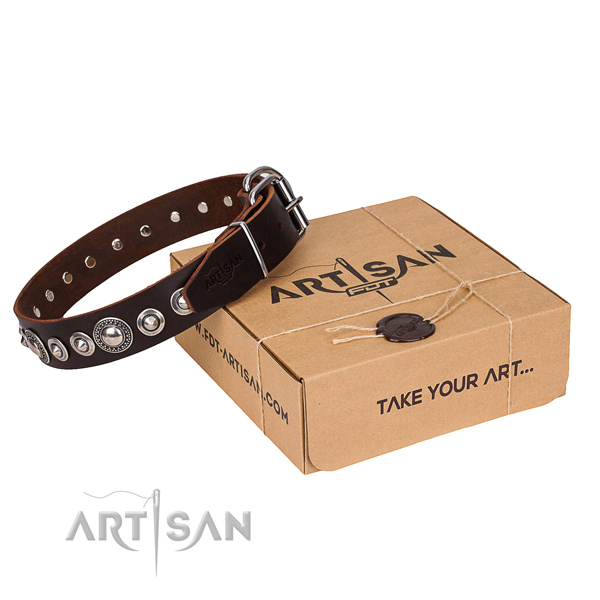 Fine quality genuine leather dog collar