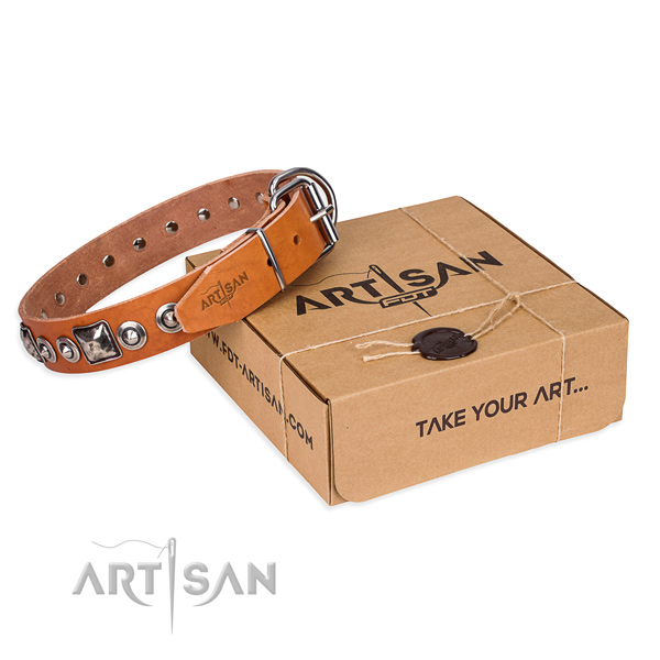 Full grain leather dog collar made of flexible material with rust resistant buckle