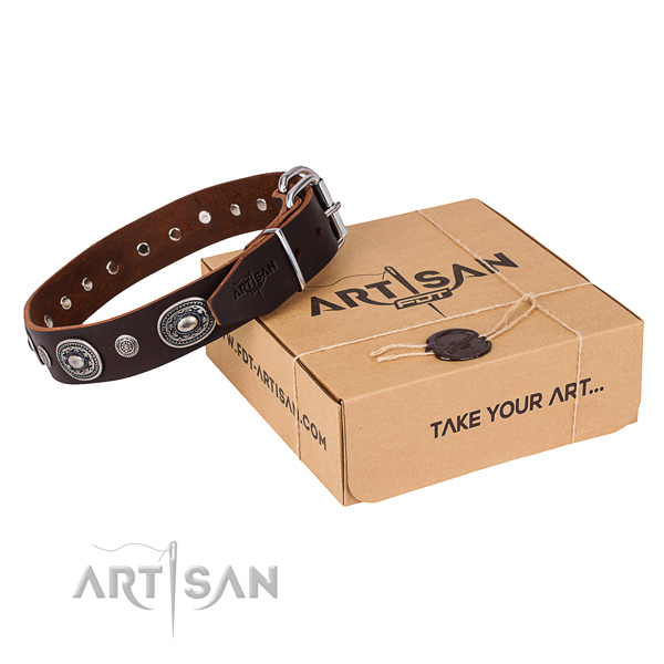 Top notch full grain leather dog collar created for comfy wearing