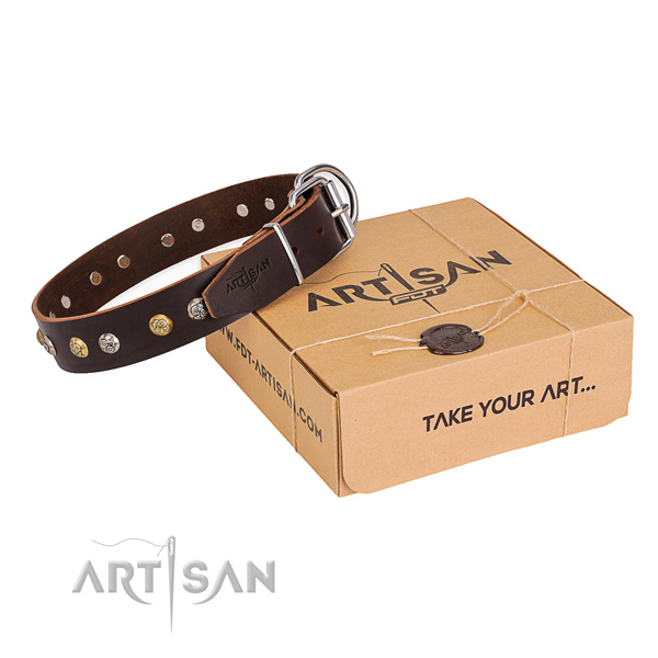 Soft genuine leather dog collar made for everyday walking