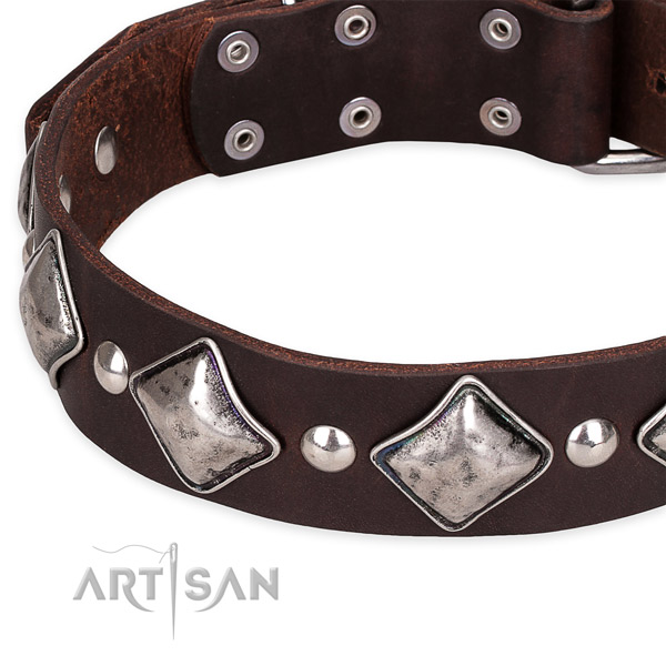 Easy wearing adorned dog collar of finest quality leather