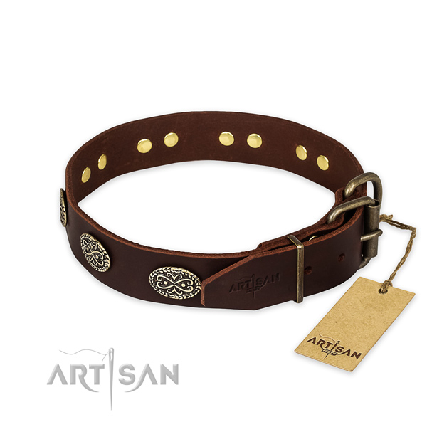 Durable buckle on full grain genuine leather collar for your handsome canine