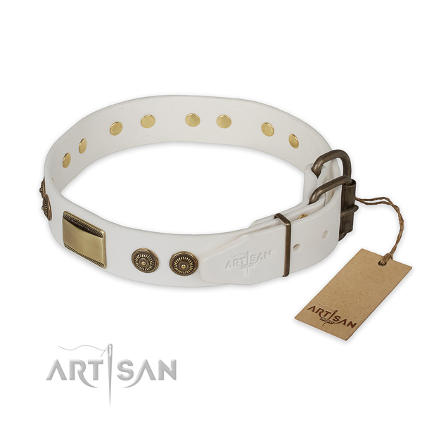 Rust-proof hardware on natural genuine leather collar for walking your doggie