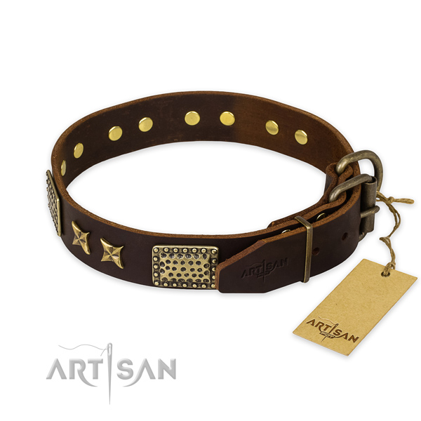 Reliable fittings on full grain genuine leather collar for your stylish four-legged friend