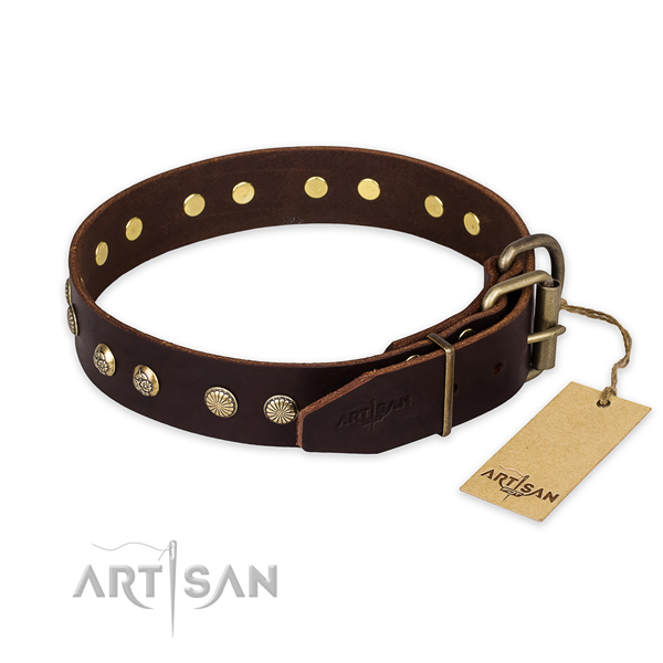 Corrosion resistant hardware on full grain leather collar for your handsome doggie