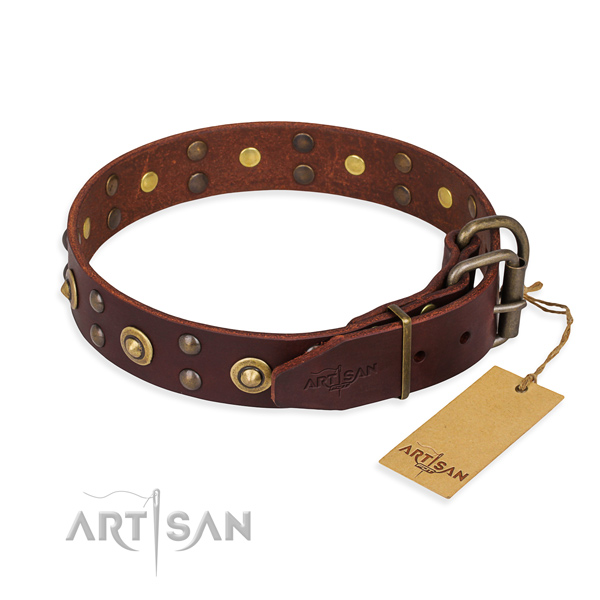 Rust-proof D-ring on genuine leather collar for your lovely doggie
