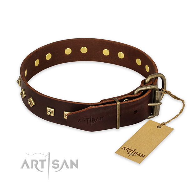 Rust-proof buckle on full grain natural leather collar for daily walking your dog