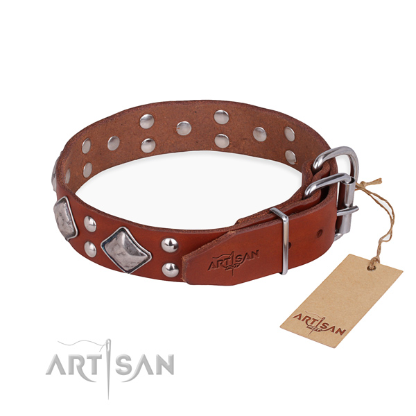 Natural leather dog collar with designer strong studs