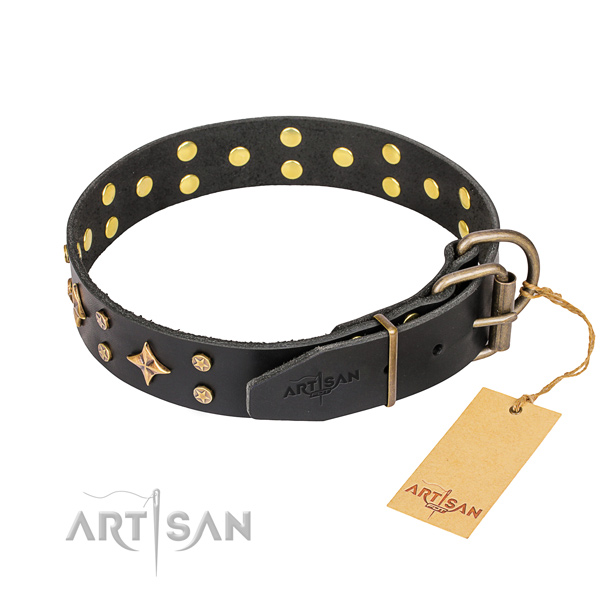 Comfy wearing embellished dog collar of durable genuine leather