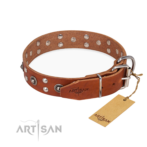 Corrosion resistant traditional buckle on leather collar for your lovely four-legged friend