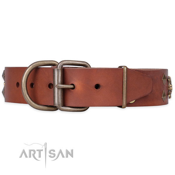 Easy wearing embellished dog collar of strong natural leather